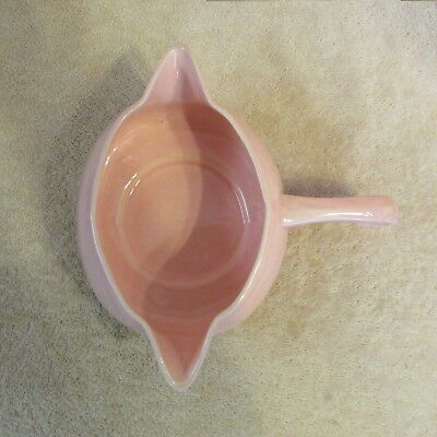 VINTAGE CERAMIC PINK GRAVY BOAT TWIN SPOUTS MID CENTURY