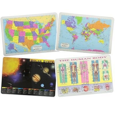 Placemats for Kids USA and World Maps, Solar System, The Human Body Laminated