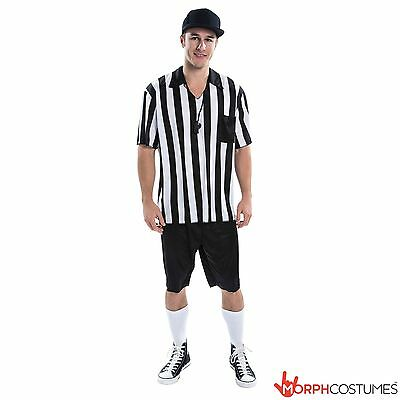 Mens Fooball Referee Fancy Dress Costume Soccer Footballer Outfit inc Whistle ](Soccer Costumes)