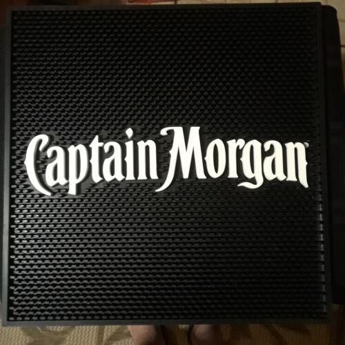 CAPTAIN MORGAN BLK/WHITE BAR MATS 17X17 SET OF 2 NEW
