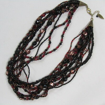 Torsade Necklace Coldwater Creek Multi Strand Red Copper Glass (Eyeglasses Cherry Creek)