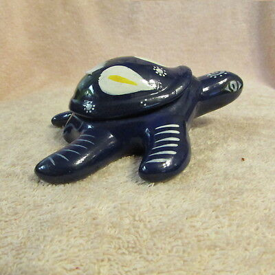 Hand Painted Turtle Lidded Trinket Jewelry Box Terra Cotta Clay NEW WITH TAGS