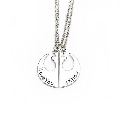 Star wars I Love You I know rebel army alliance pendant necklaces for couples