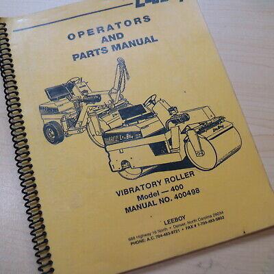 Leeboy Model 400 Roller Owner Operator Operation Parts Manual Book Catalog List