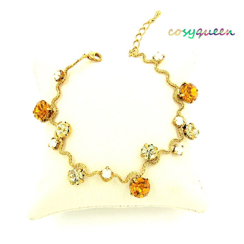 Swarovski Elements Crystal New Amber Topaz Gold Wavy Bracelet Women Gift