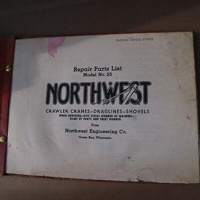 Northwest Model 25 Crawler Crane Parts Manual Book Catalog Lattice Boom Owner