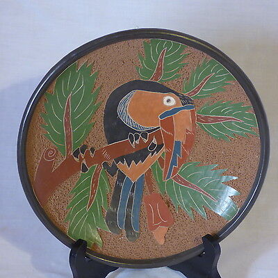COSTA RICAN DECORATIVE TOUCAN ON BRANCH CERAMIC PLATE HAND CARVED HANDMADE 9""