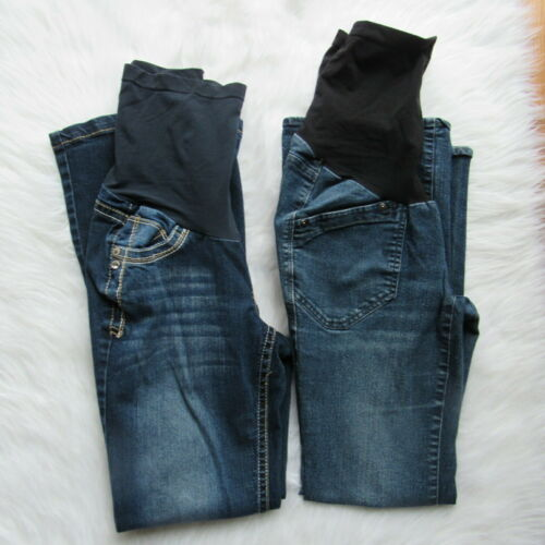 Oh Baby by Motherhood Maternity Jeans Set of 2 Over Belly Size S Dark Wash