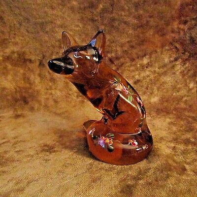 Fenton FOX Hand Painted Figurine/Signed by Artist Enoch and Scott K. Fenton