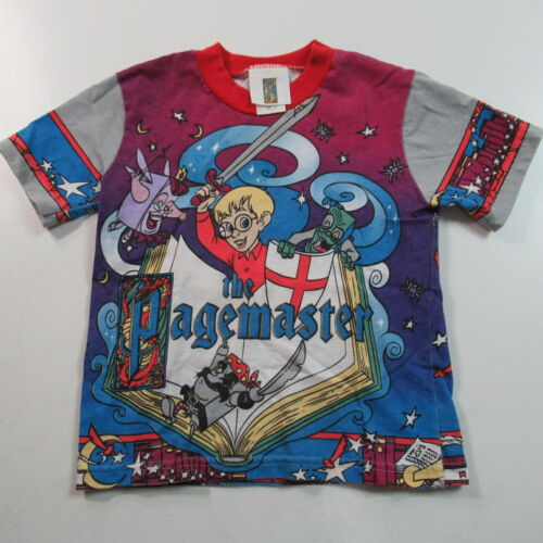 VINTAGE 90s Pagemaster T Shirt All Over Print 1994 Movie USA SIZE TODDLER 5/6