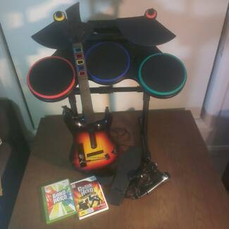 GUITAR HERO BAND HERO SET Wii - GUITAR - DRUMS - MIKE - 2 GAMES Craigieburn Hume Area Preview