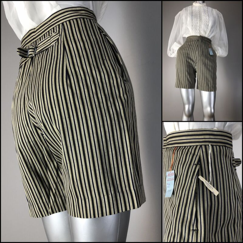 Vtg 50s Shorts Buckle Back High Waist Darted Pinstripe Pockets NOS New Old Stock