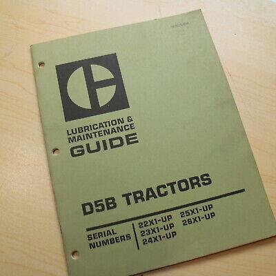Cat Caterpillar D5b Tractor Dozer Crawler Maintenance Lubrication Manual Owner