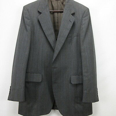 Used Mens Blazer Sport Coat Glen Plaid Warren Sewell 38R Gray Blue Stripe