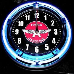 FLYING A GASOLINE LOGO - 11 Blue Neon Wall Clock