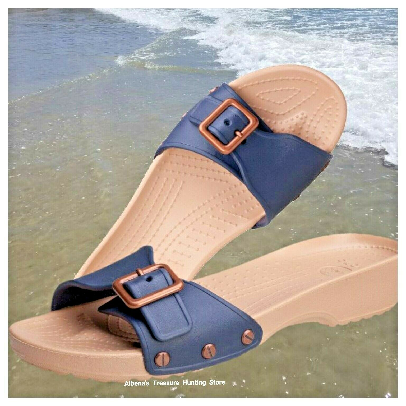 NWT CROCS Sarah Women's Wedge Slides Sandals Studded Navy/Go