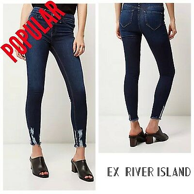 ex-River Island Molly Dark Blue Wash 'chewed hem' Jeggings (6685) RRP £42.00