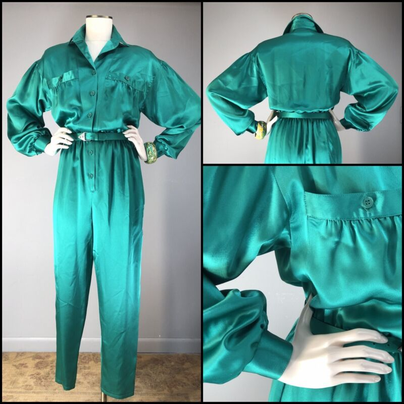Vtg 80s 90 JUMPSUIT Billow Sleeve Luxe Emerald Charmeuse Runway Boiler Suit USA