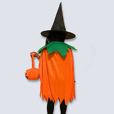 Kids Witch Halloween Costume (Kids 3 Set Halloween Witches Costume Pumpkin Trick or Treat Bag  Cape Witch)