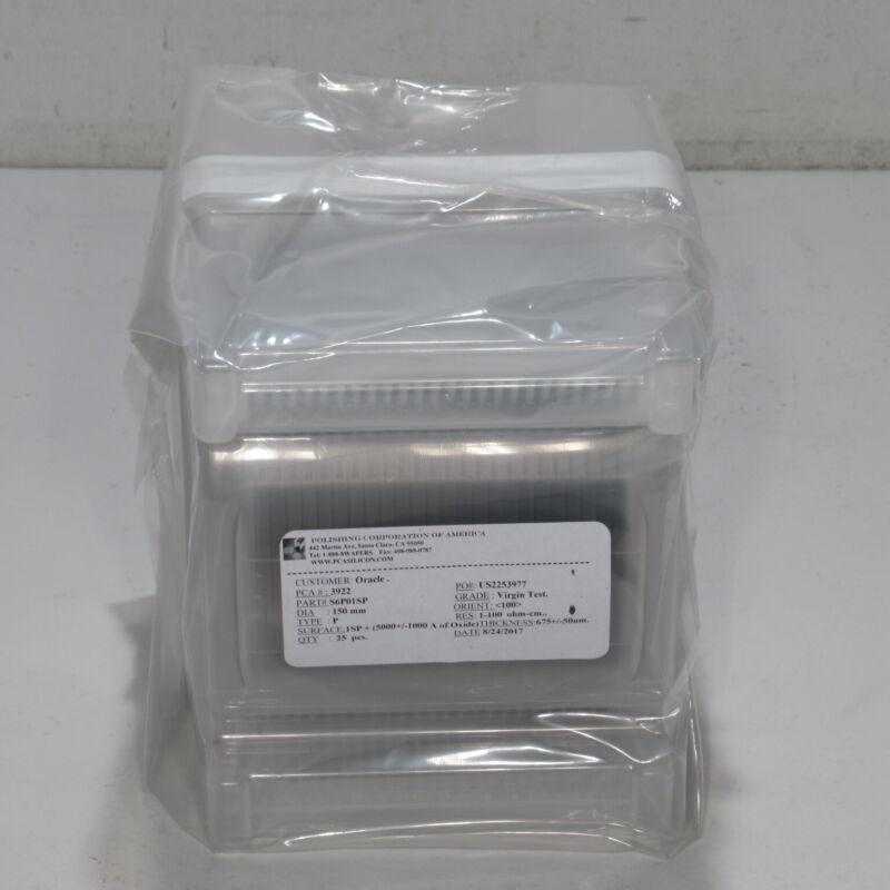 PCA POLISHING CORPORATION 150MM 1-100 OHM-CM 675 +/- 50um TEST WAFERS - QTY 25