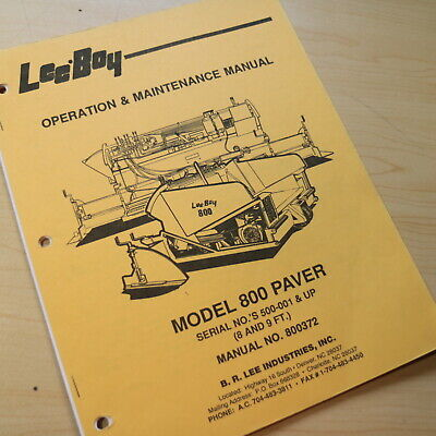 Leeboy Model 800 Paver Owner Operator Operation Maintenance Manual Book Guide