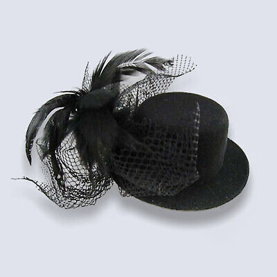 adies Halloween Fancy Dress Costume Accessory Clip On (Mini Black Top Hats)