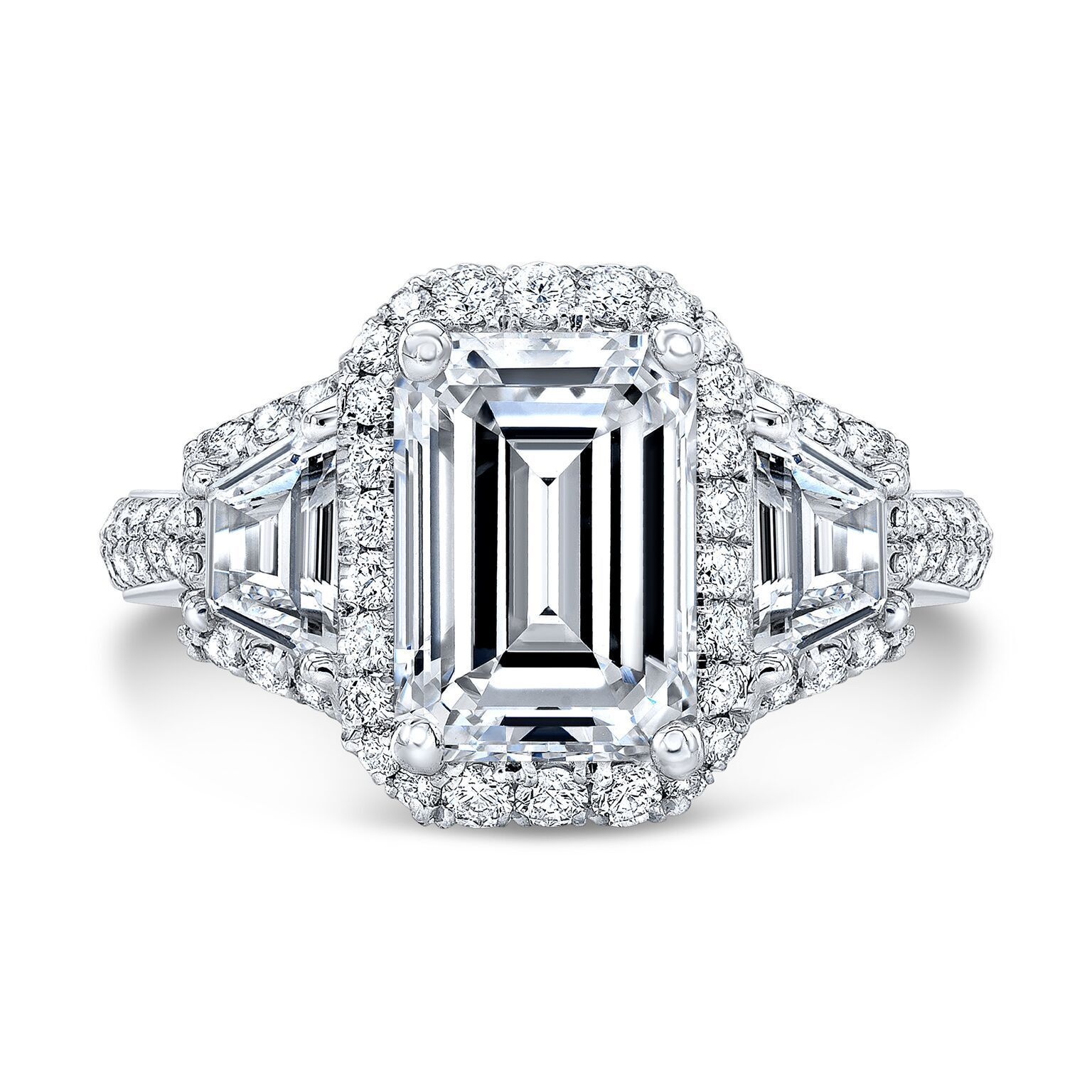2.20ctwNatural Emerald Cut 3-Stone Halo 2 Row Shank Diamond Engagement Ring GIA