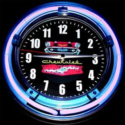 1957 CHEVY LOGO - 11 Blue Neon Wall Clock