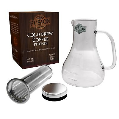 Cold Brew Coffee Pitcher System | Glass Carafe & Stainless Steel Filter