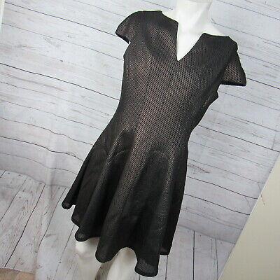 Julia Jordan 14 Dress Womens Black Rose Gold Metallic Mesh Jacquard Fit & Flare