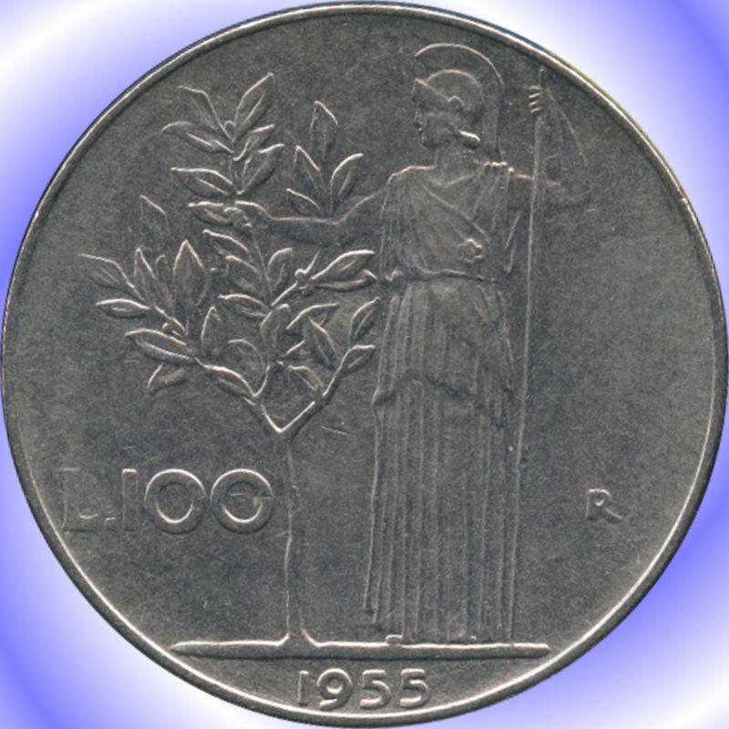 1955 Italy 100 Lira Coin