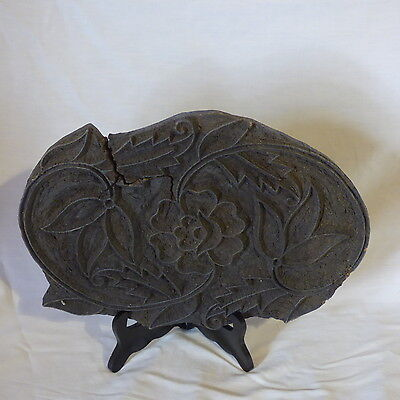 VINTAGE WOODEN FABRIC PRINTING BLOCK EXTRA LARGE FLORAL FROM INDIA