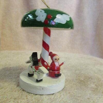 Vintage Carousel Christmas Tree Ornament Plastic Merry Go Round WOOD
