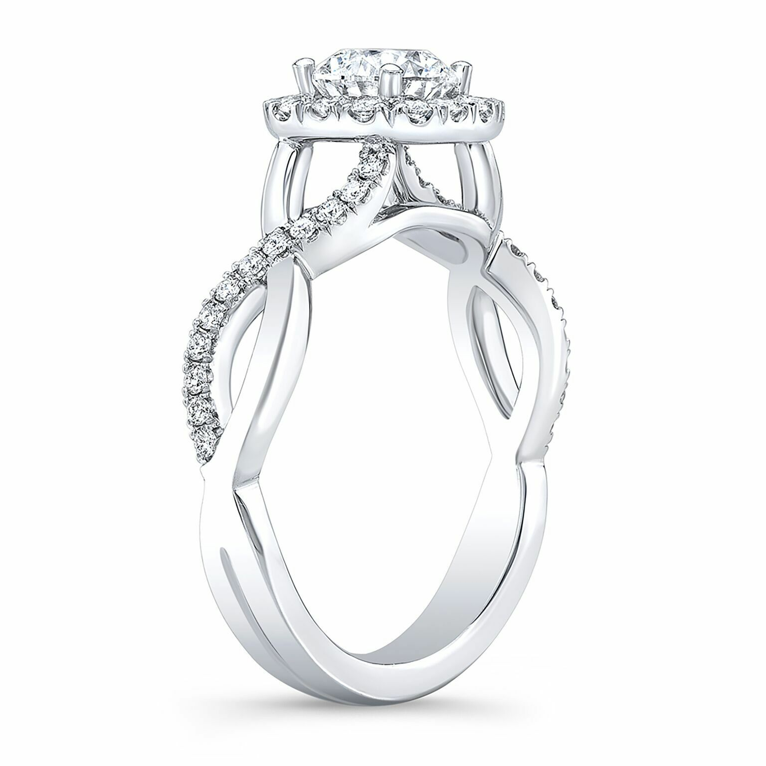 Natural Round Cut Twisted Pave Diamond Engagement Ring - GIA Certified 1