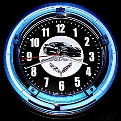 C7 VETTE LOGO - 11 Blue Neon Wall Clock