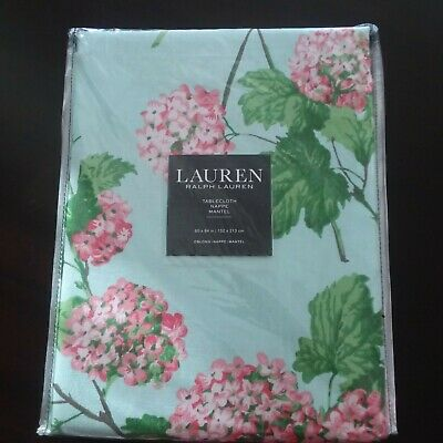 Ralph Lauren Tablecloth OBLONG 60X84  HYDRAGEA FLOWERS mint green pink FLORAL