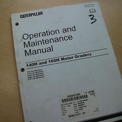 Cat Caterpillar 140h 160h Motor Grader Operation Owner Manual Operator Guide Use