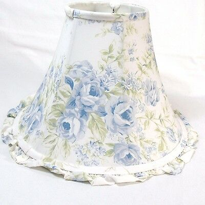 Totally Shabby Chic British Rose Blue Floral Ruffled Bell Lamp Shade, Medium