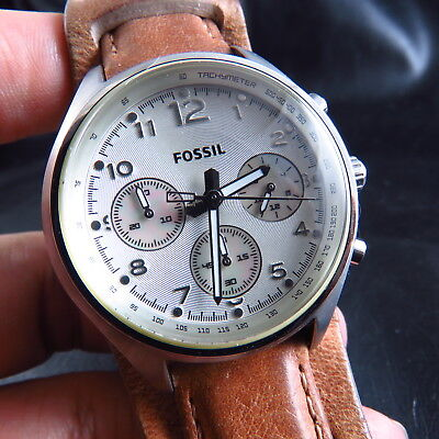 ALL STEEL FOSSIL   CHRONOGRAPH 24 HOURS  QUARTZ MEN WATCH