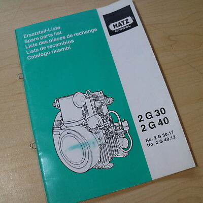 Hatz 2 G 30 40 Diesel Engine Parts List Manual Book catalog spare index loader