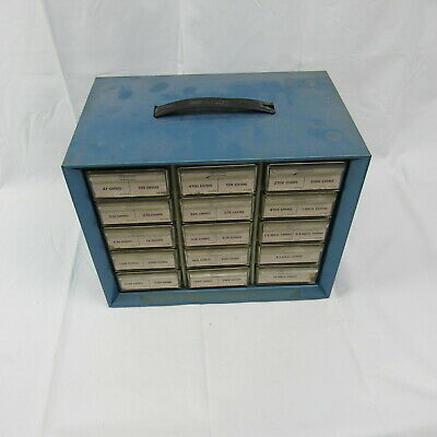 Vintage Storage Cabinet Akro-mills A-m Metal Plastic 15 Drawers Small Parts Blue