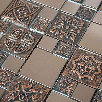 Stainless Backsplash - Copper Color Stainless Steel Metal Mosaic Tile For Kitchen Backsplash Wall Decor
