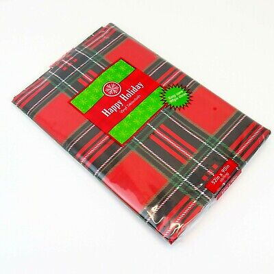 Red Plaid Tablecloth (Christmas Vinyl Tablecloth Plaid Tartan Red Black Green Holiday 52