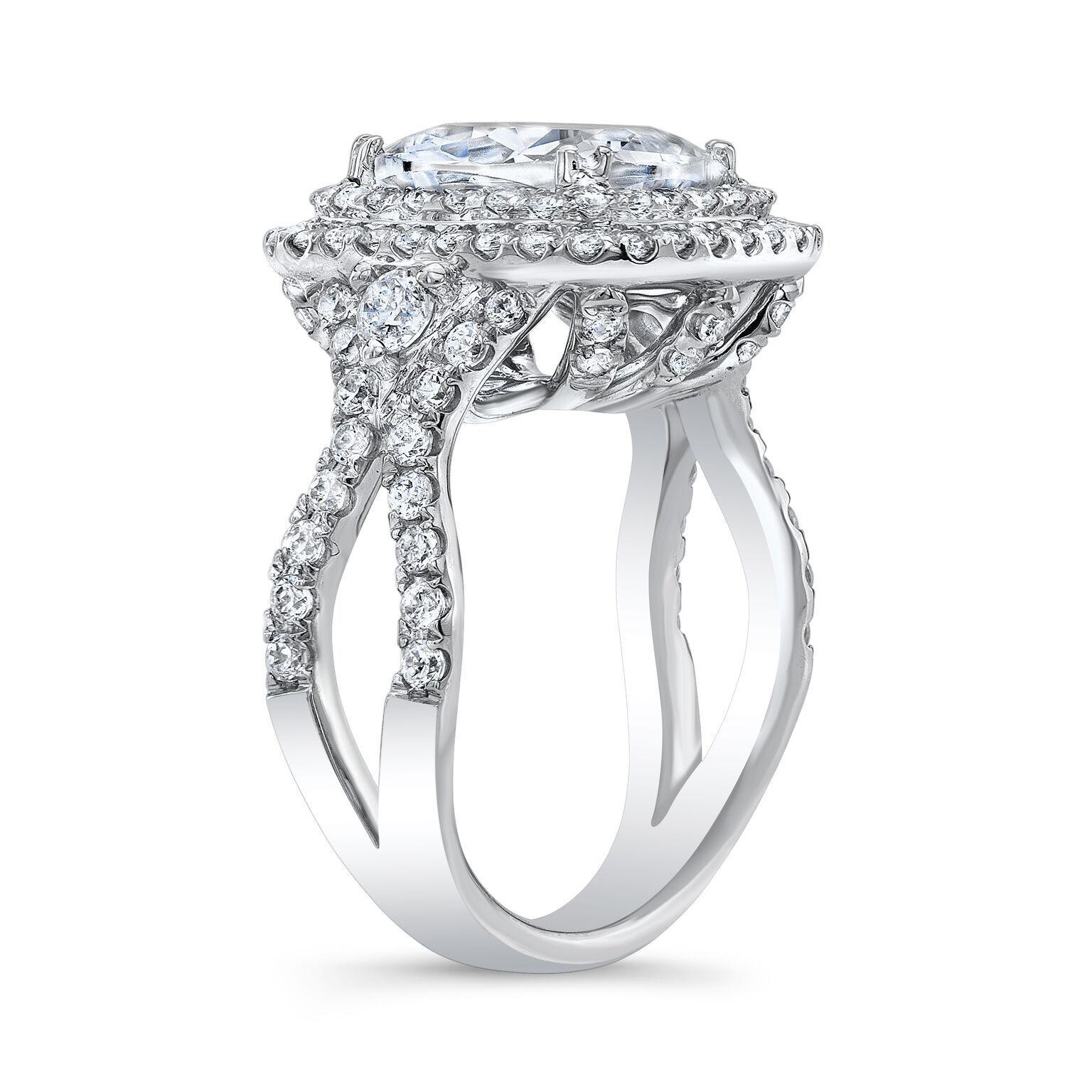 2.40ctNatural Cushion Cut Double Halo Split Shank with side diamonds profile GIA 2