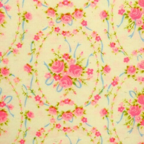 4 Yards 1970s Dayglo Pink Rose Floral Flannel Fabric 100% Cotton