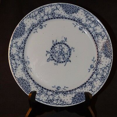 "ANTIQUE WEDGWOOD MALTESE BLUE & WHITE TRANSFER WARE FLORAL PATTERN 9 1/2"" 1800's"