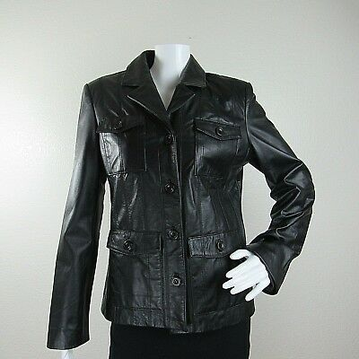Womens Santa Jacket (Santa Fe Womens Genuine Leather Jacket Solid Black Button Down Lined)
