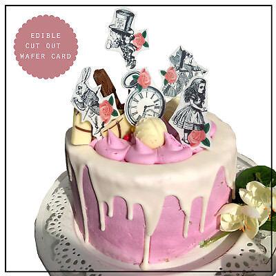 Alice In Wonderland Cake Decorations (Alice in Wonderland Edible Cake & Cupcake Decorations rabbit queen Watch x)