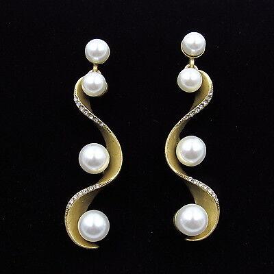 275 Oscar De La Renta Pave Wave Pearl Gold Tone Earrings