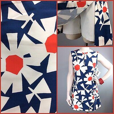 Vtg 60s 70s Romper Culottes Mod Dress Floral Pop Art RW&B Jumpsuit Scooter Skort